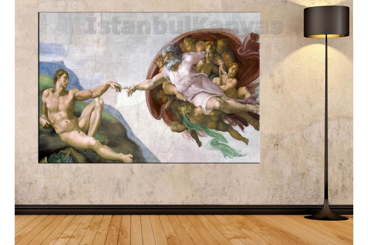 Skr93 - Michelangelo - Creation Of Adam - Tanrının Eli Kanvas Tablo