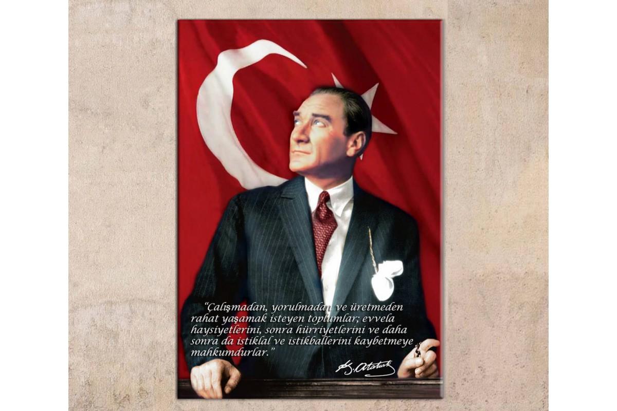 skra32 - Mustafa Kemal Atatürk ve Söylediği Sözler Kanvas Tablo