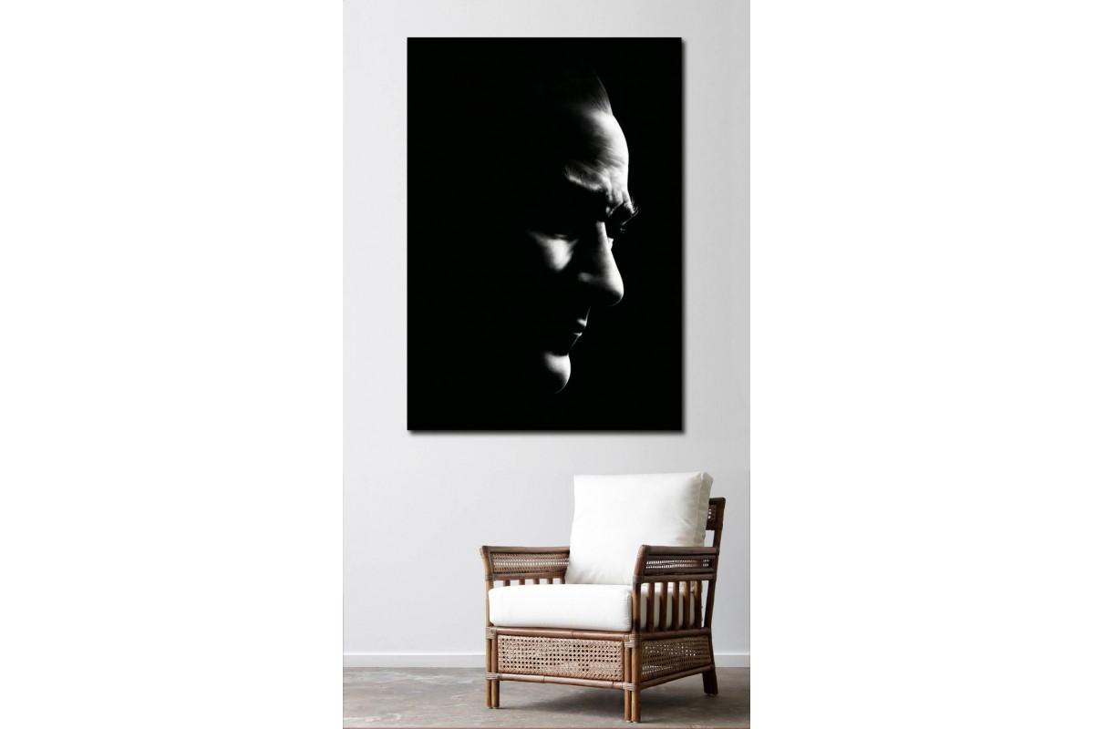 skra35 - Siyah Zemin Üzerine Ulu Önder Mustafa Kemal Atatürk Silueti Kanvas Tablo