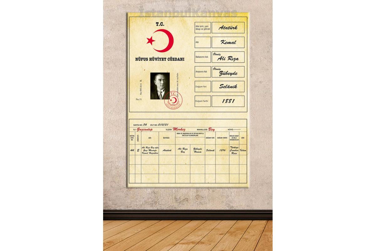 Skra81 - Mustafa Kemal Atatürk Nüfus Kağıdı, Hüviyet Cüzdanı Kanvas Tablo