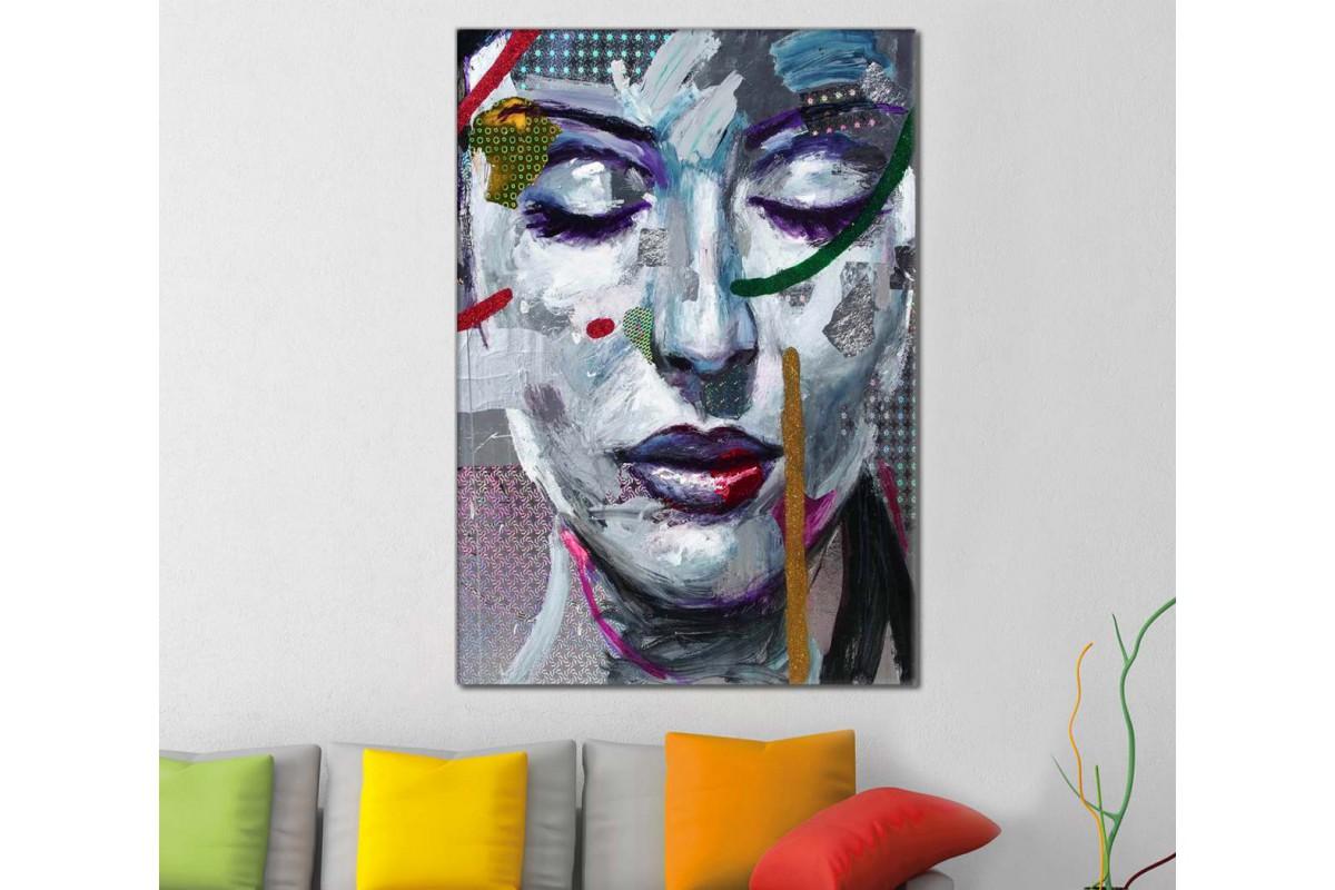 skrd14 - Gözleri Kapalı Kadın Silueti Renkli Desenler Soyut Kanvas Tablo
