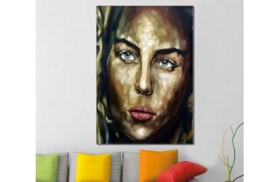 skrd16 - Yağlı Boya Görünümlü Makyajlı Kadın Suratı Soyut Kanvas Tablo