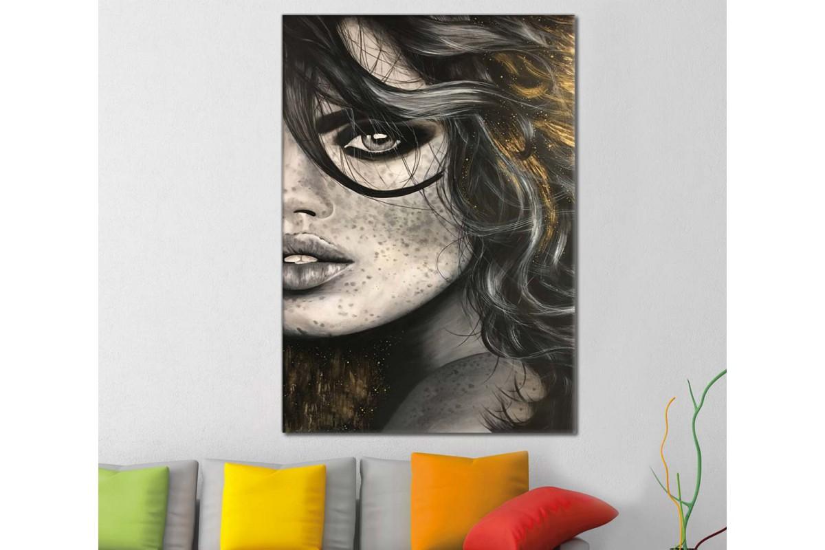 skrd20 - Uzun Saçlı ve Çilli Kadın Kuaför Salonu Dekoratif Soyut Kanvas Tablo