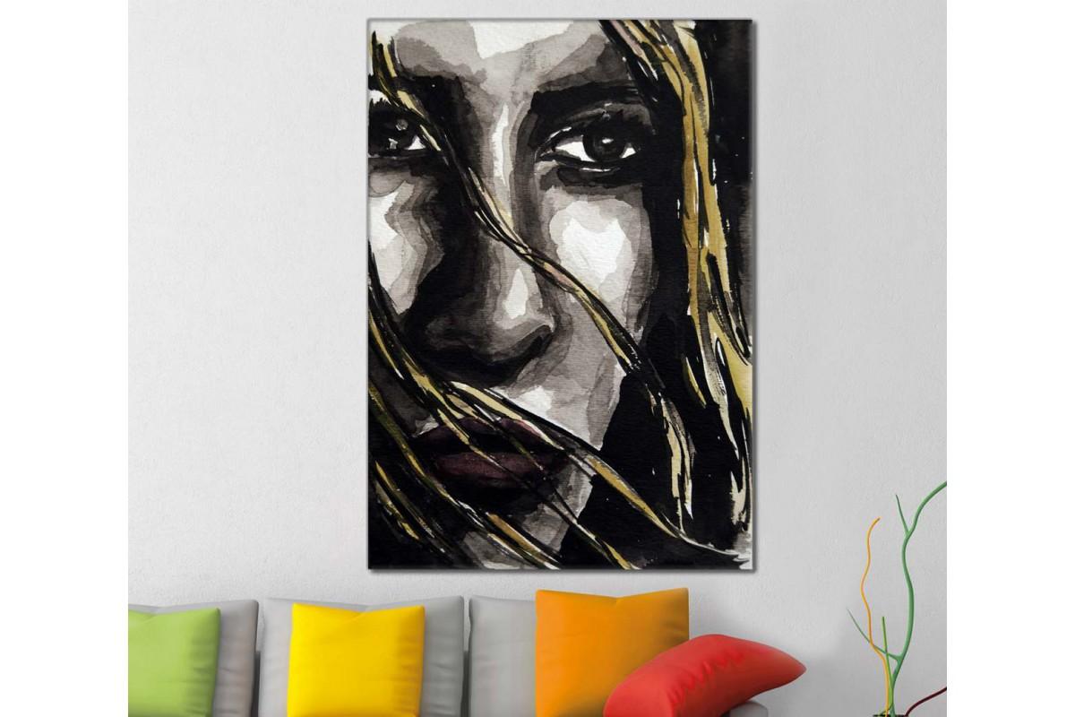 skrd21 - Rüzgarda Saçları Savrulan Kadın Dekoratif Soyut Kanvas Tablo