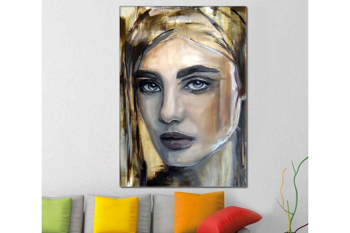 skrd22 - Sarışın ve Makyajlı Güzel Kadın Sureti Dekoratif Soyut Kanvas Tablo