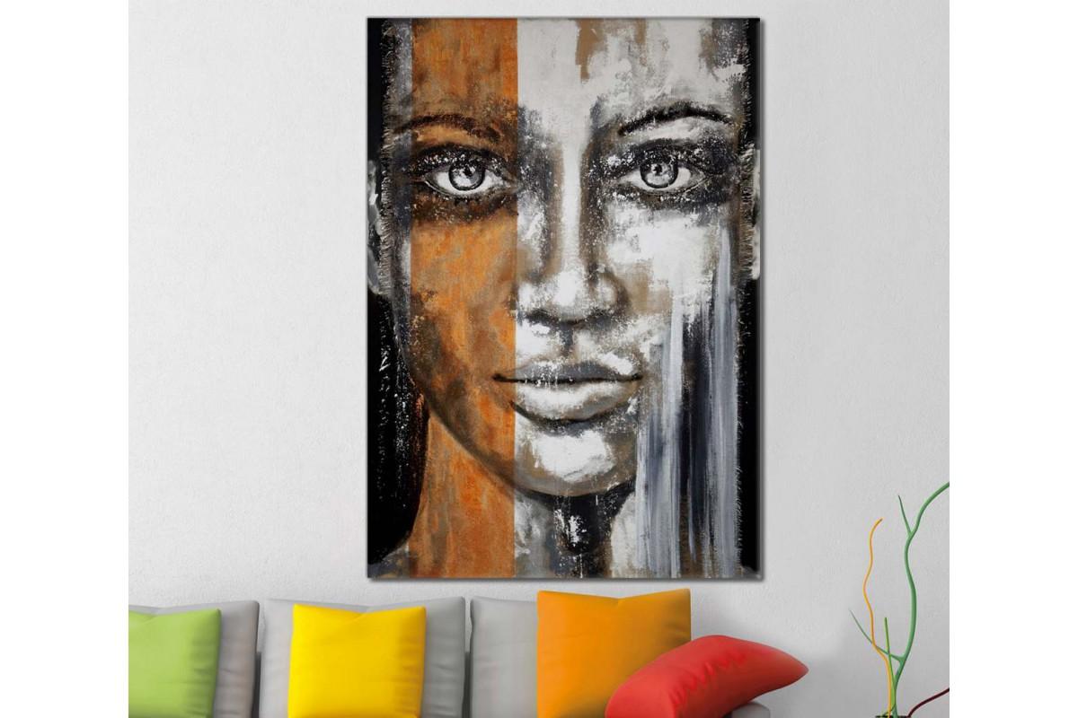 skrd23 - Farklı Renklerde Kadın Sureti Dekoratif Soyut Kanvas Tablo