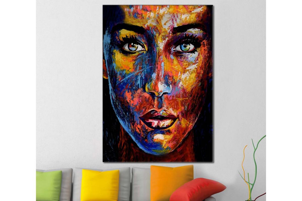 skrd24 - Rengarenk Kadın Suratı Dekoratif Soyut Kanvas Tablo