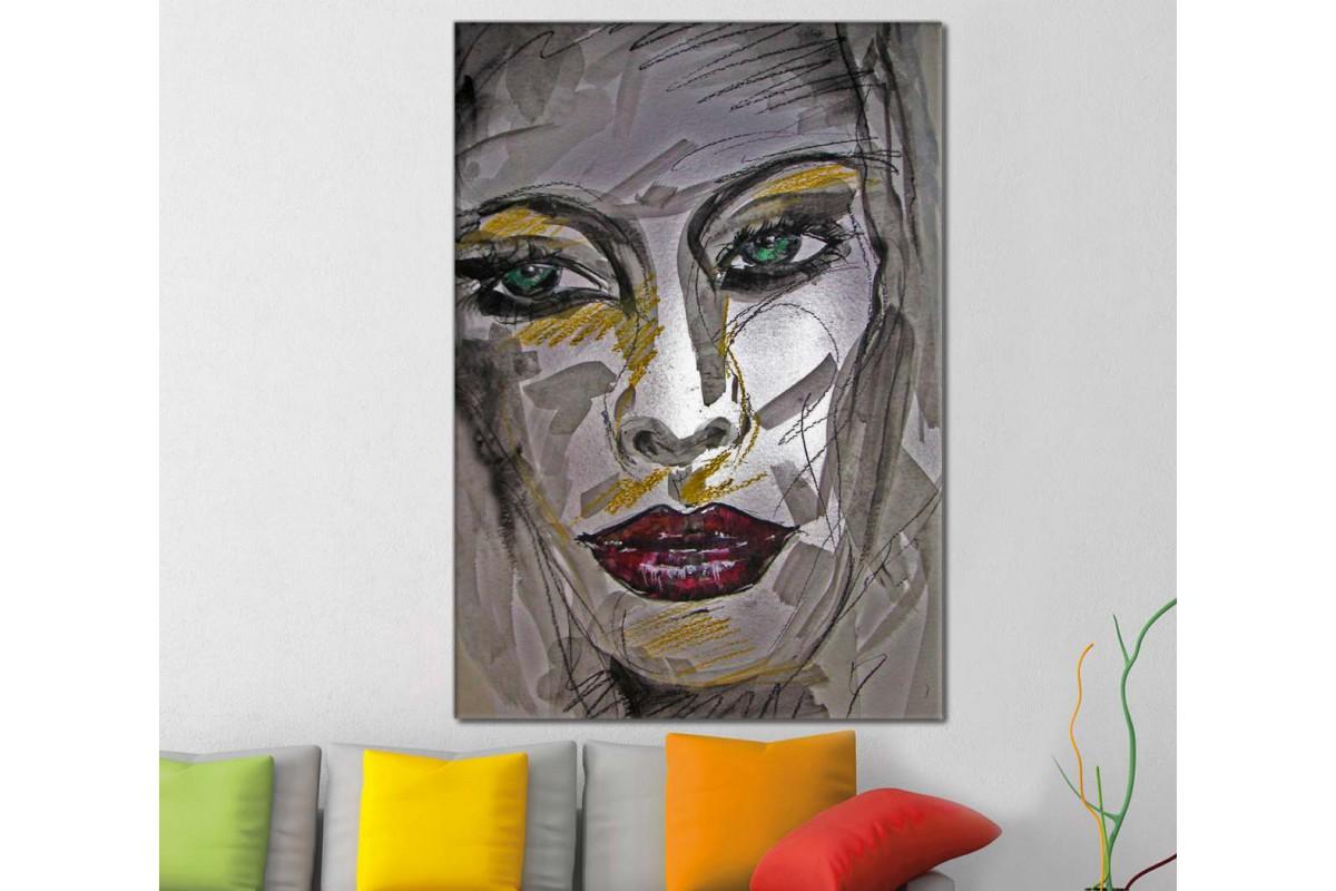 skrd25 - Yağlı Boya Görünümlü Kadın Dekoratif Kübik Kanvas Tablo