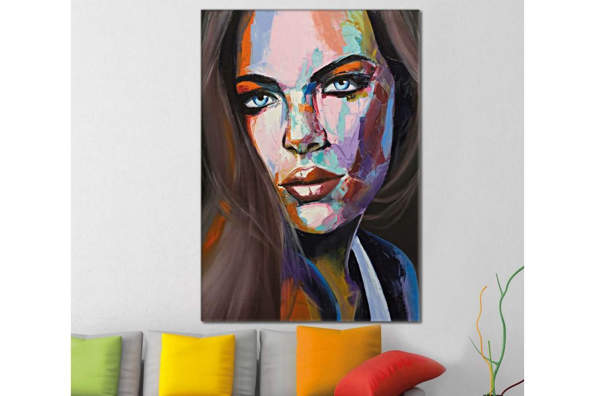 skrd26 - Güzel Gözlü Kadın Silueti Dekoratif Soyut Kanvas Tablo