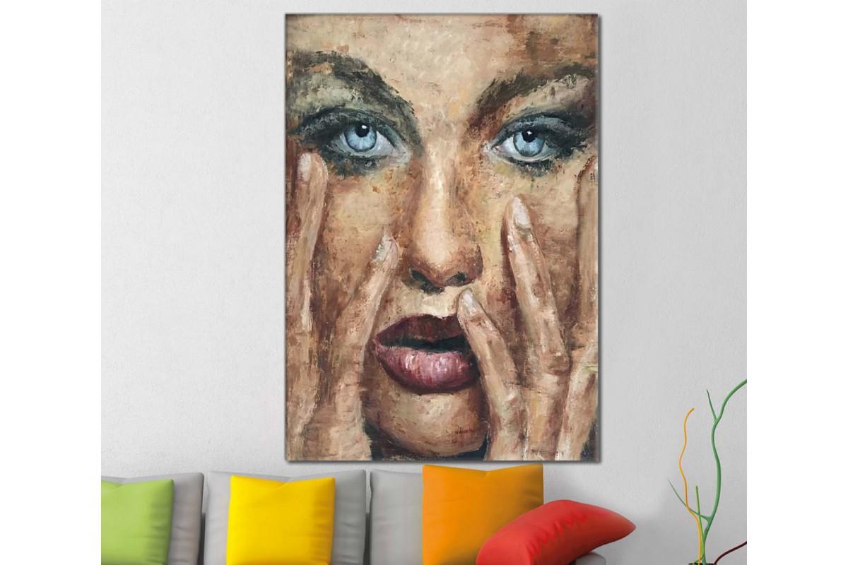 skrd27 - Yağlı Boya Görünümlü Kadın Sureti Dekoratif Soyut Kanvas Tablo