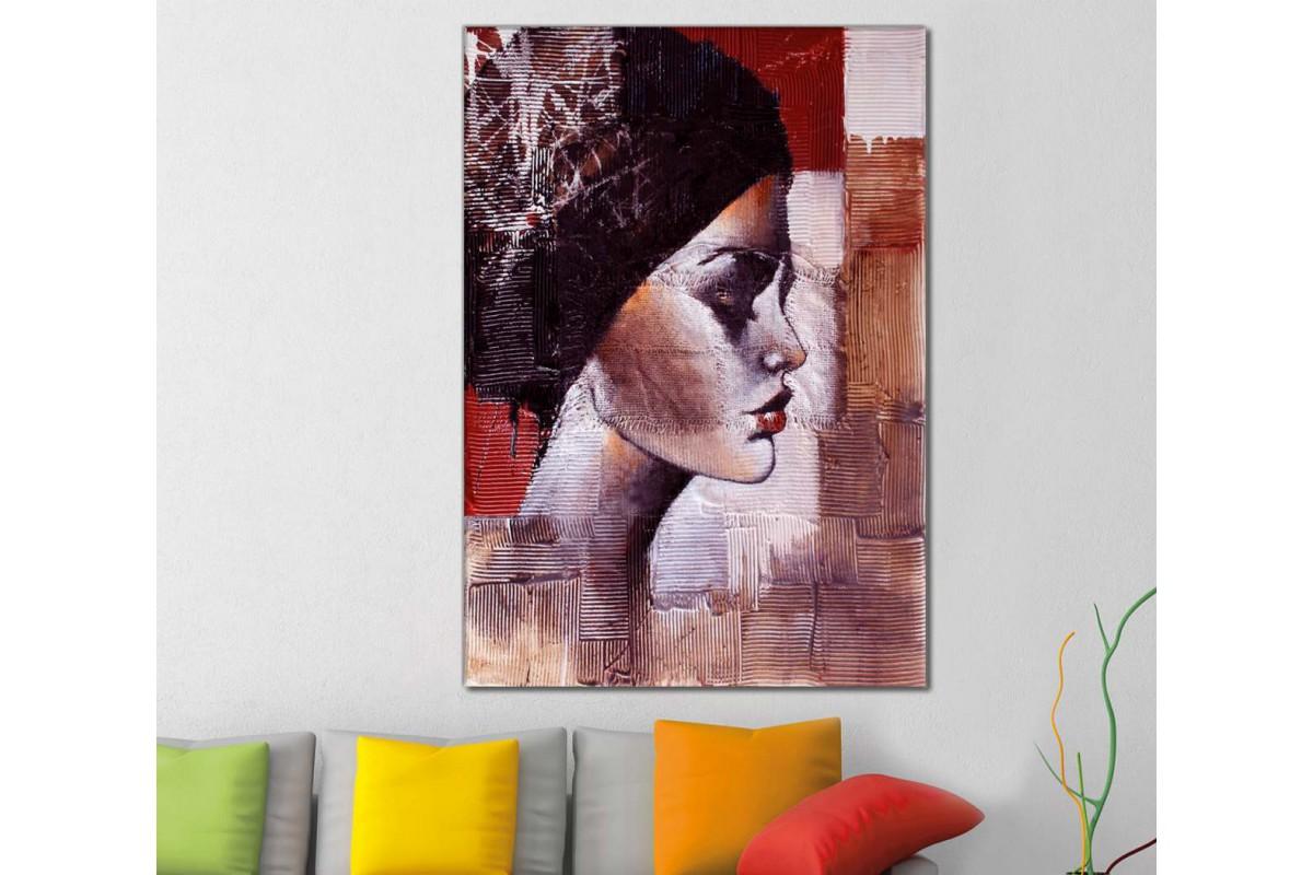 skrd30 - Bere ve Makyajlı Kadın Dekoratif Soyut Kanvas Tablo