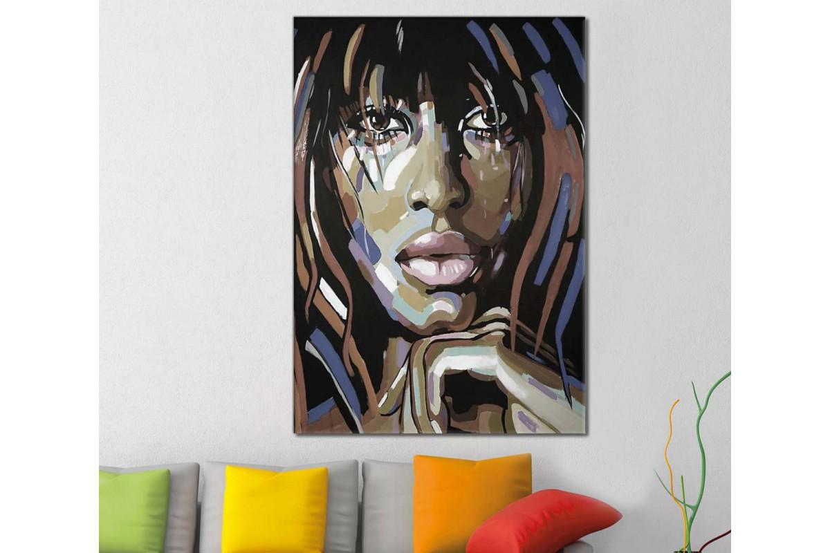skrd31 - Rasta Saçlı Afrikalı Siyahi Kadın Dekoratif Soyut Kanvas Tablo