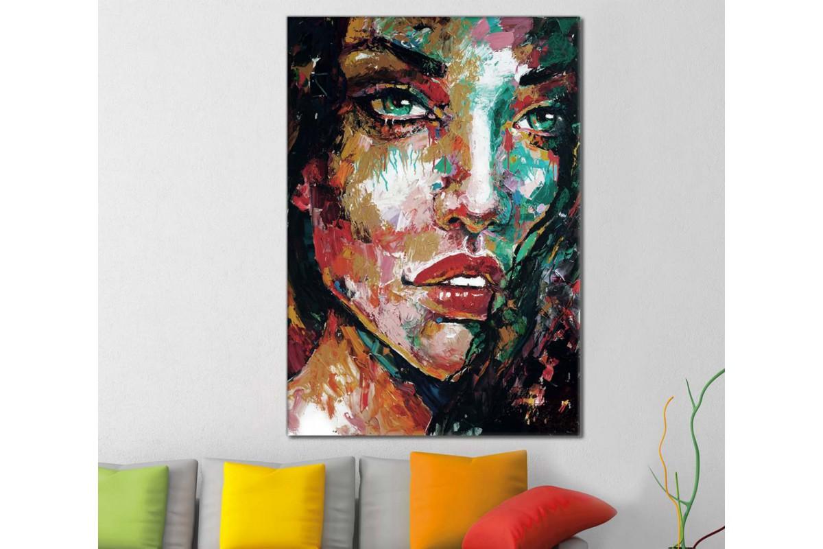 skrd32 - Canlı Renklere Sahip Kadın Sureti Dekoratif Soyut Kanvas Tablo