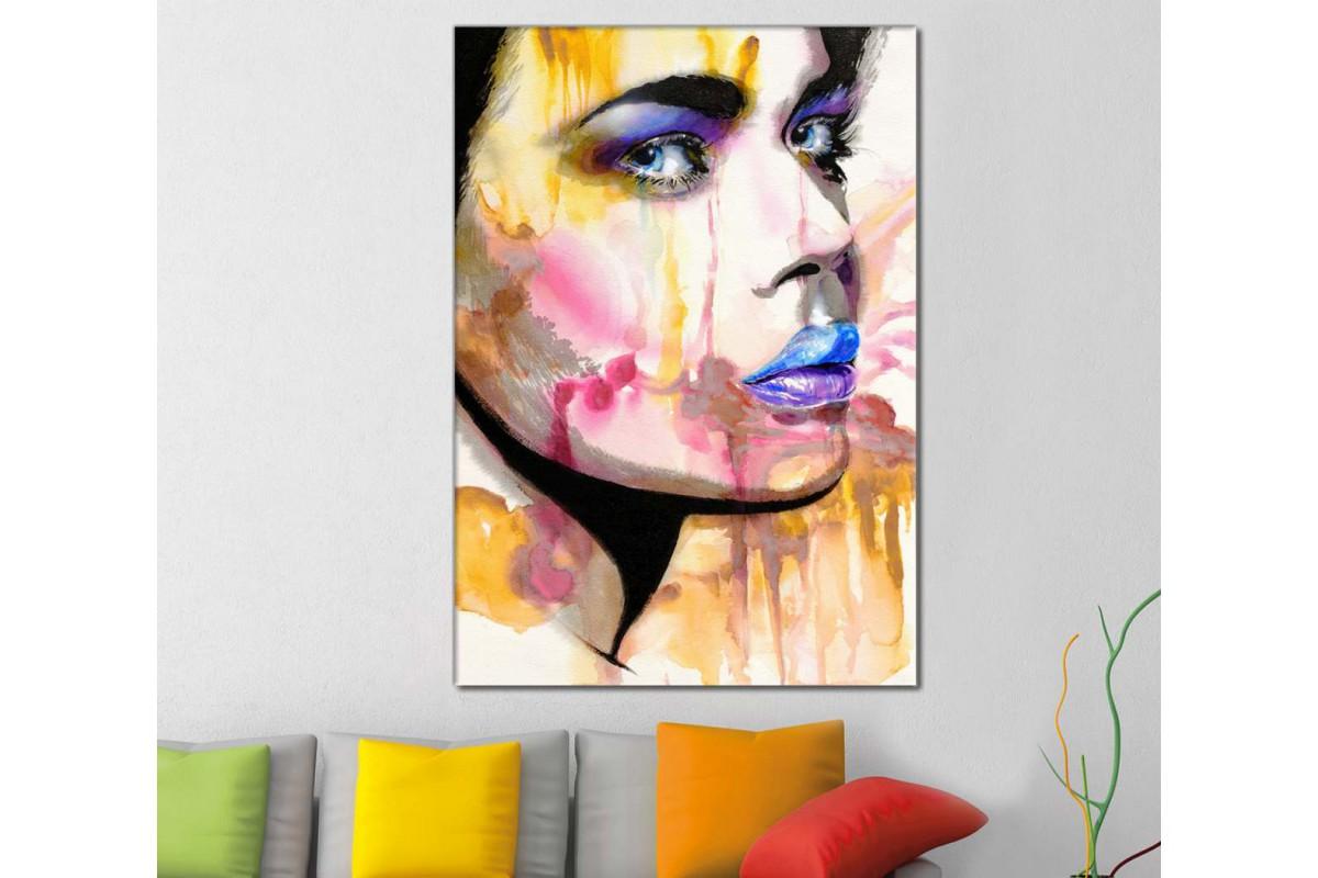 skrd33 - Güzel Gözlü Kadın Dekoratif Soyut Kanvas Tablo