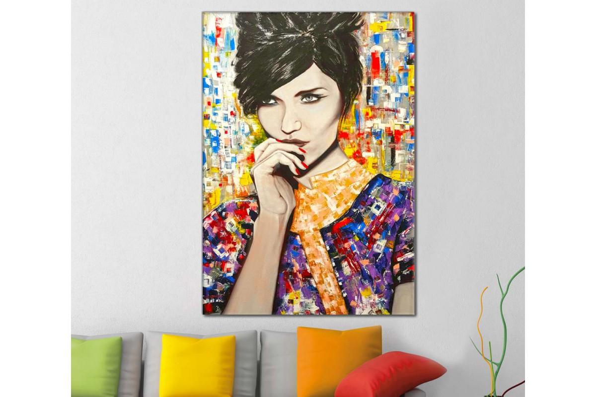 skrd34 - Rengarenk Elbiseli Kadın Dekoratif Soyut Kanvas Tablo