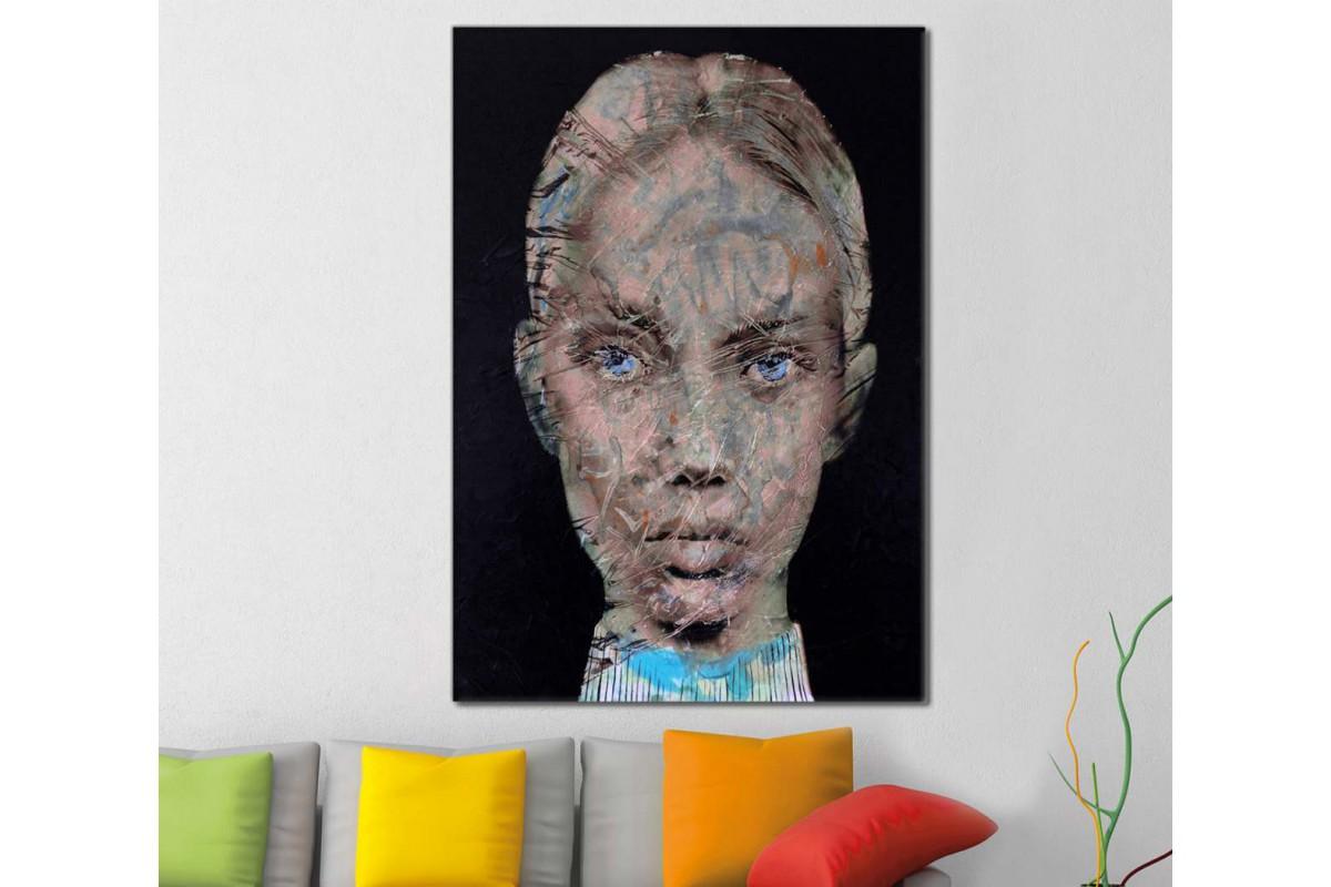skrd36 - Yağlı Boya Görünümlü Kadın Dekoratif Soyut Kanvas Tablo