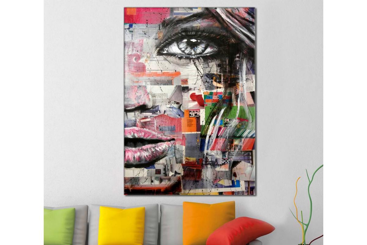 skrd38 - Farklı Renklerde Kadın Sureti Dekoratif Soyut Kanvas Tablo