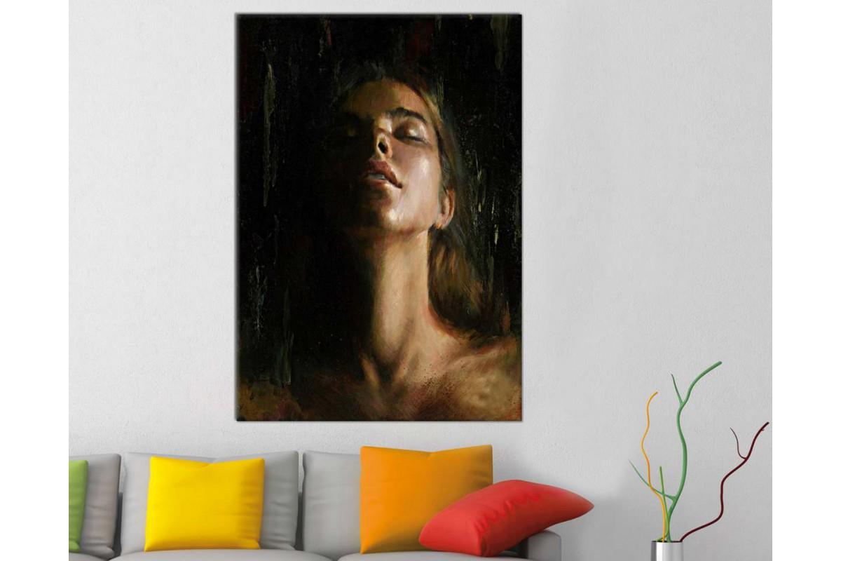 skrd4 - Dekoratif Yağlı Boya Görünümlü Kadın Portresi Kanvas Duvar Tablosu