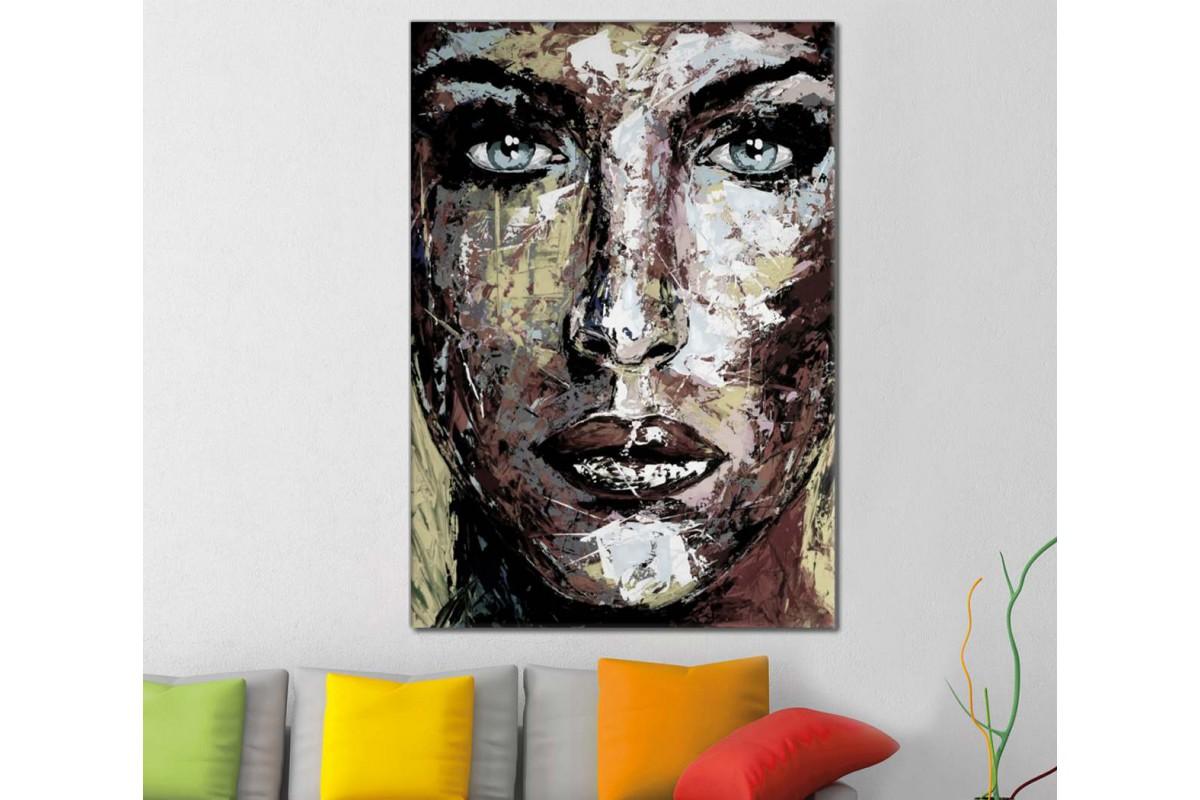 skrd42 - Yağlı Boya Görünümlü Kadın Sureti Dekoratif Soyut Kanvas Tablo