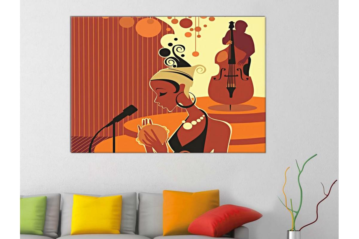 skrd43 - Şarkı Söyleyen Kadın Sureti Dekoratif Soyut Kanvas Tablo