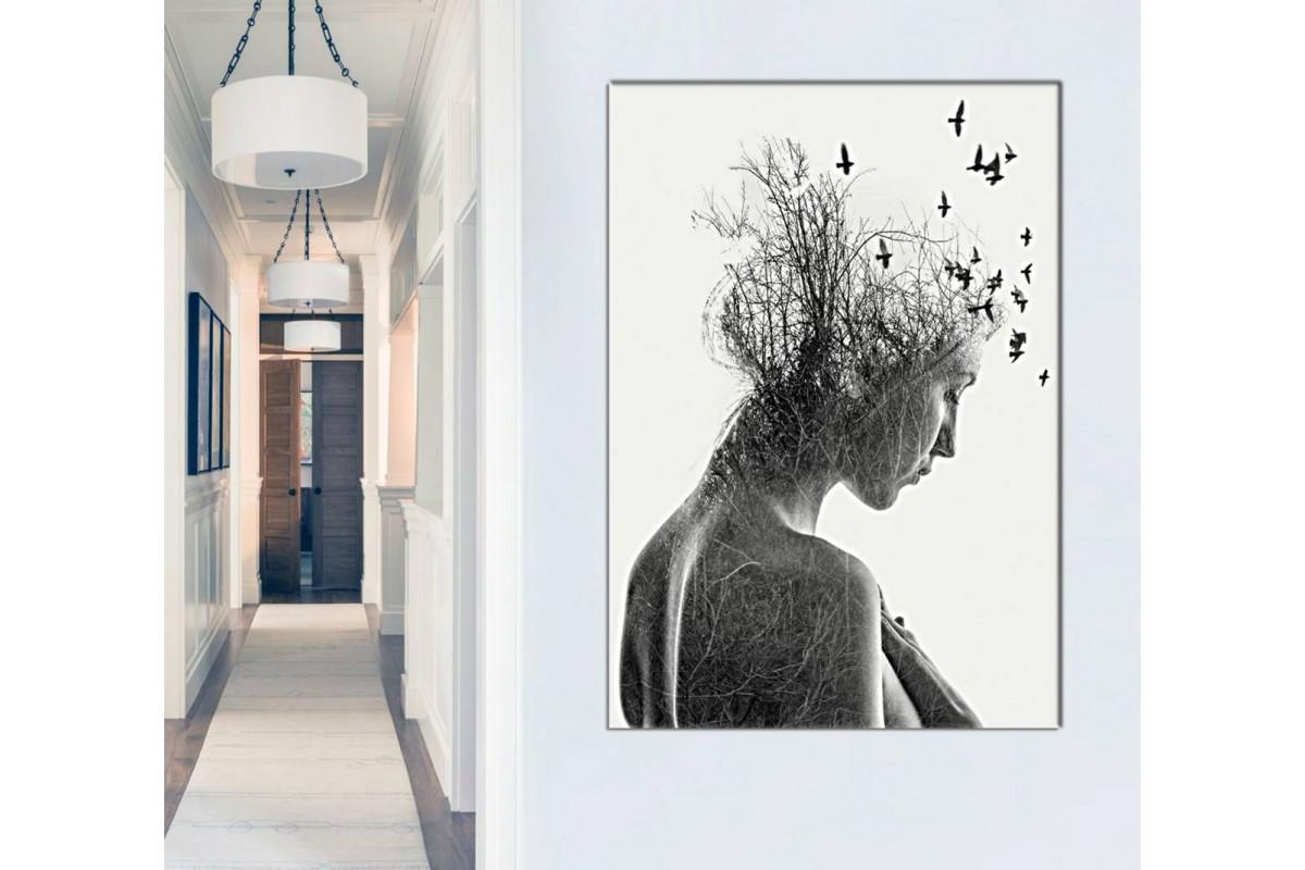 skrd48 - Kadın, Ağaç Dalları ve Kuşlar Sürrealist Kanvas Tablo