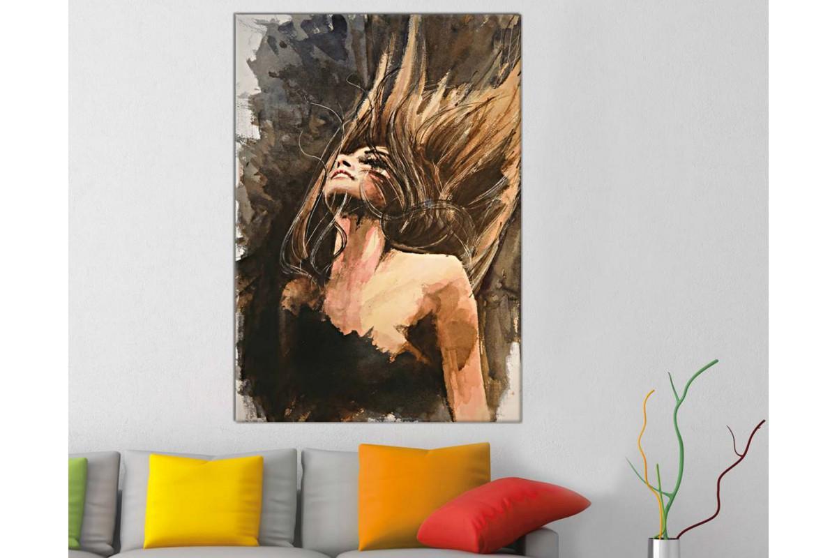 skrd5 - Saçlarını Savuran Kadın Yağlı Boya Görünümlü Kanvas Duvar Tablosu