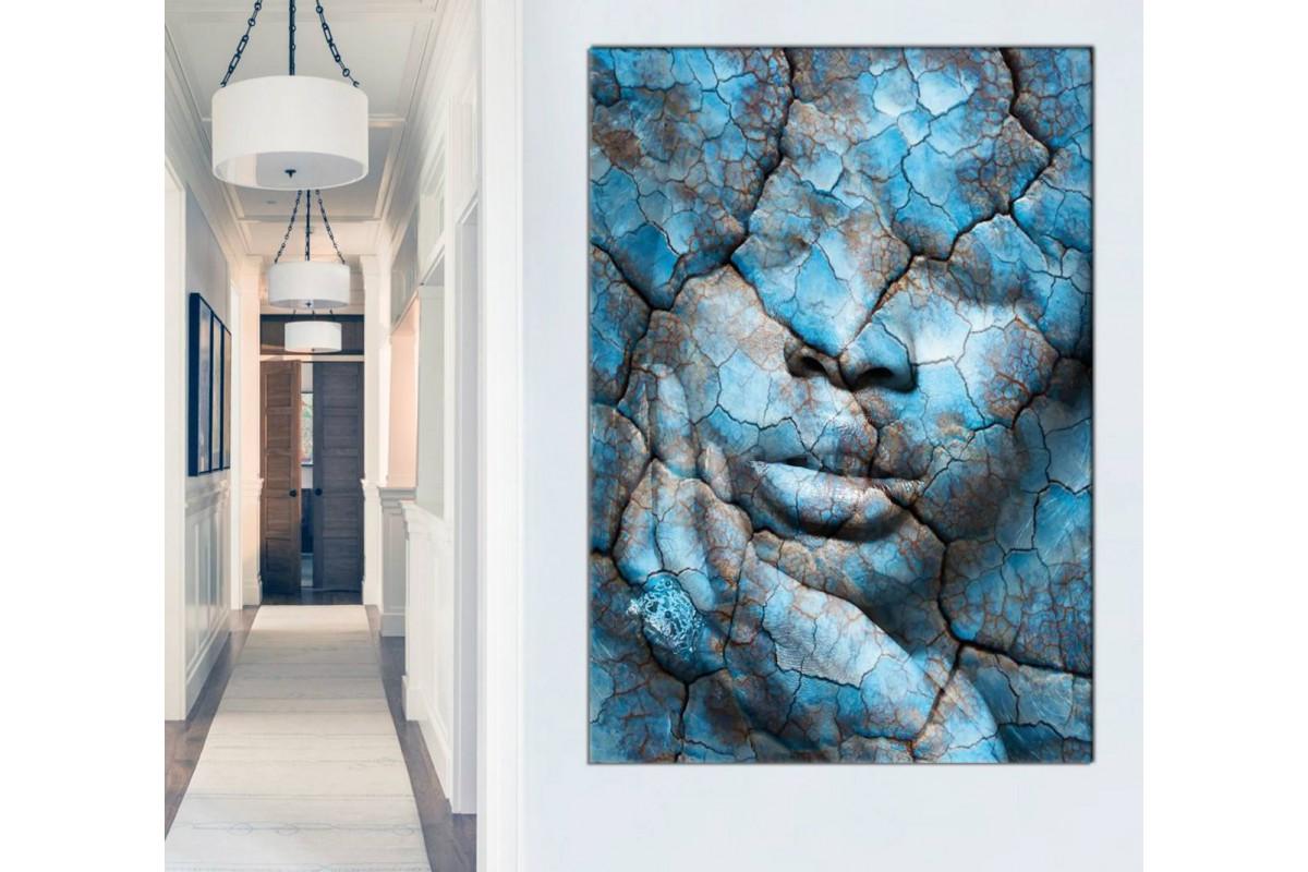 skrd50 - Çatlamış Mavi Topraklar ve Kadın Silueti Dekoratif Kanvas Tablo