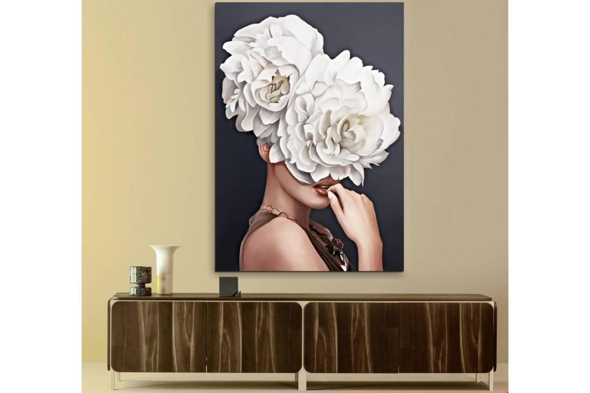 skrd52 - Çiçek Başlı Kadın Dekoratif Kanvas Tablo