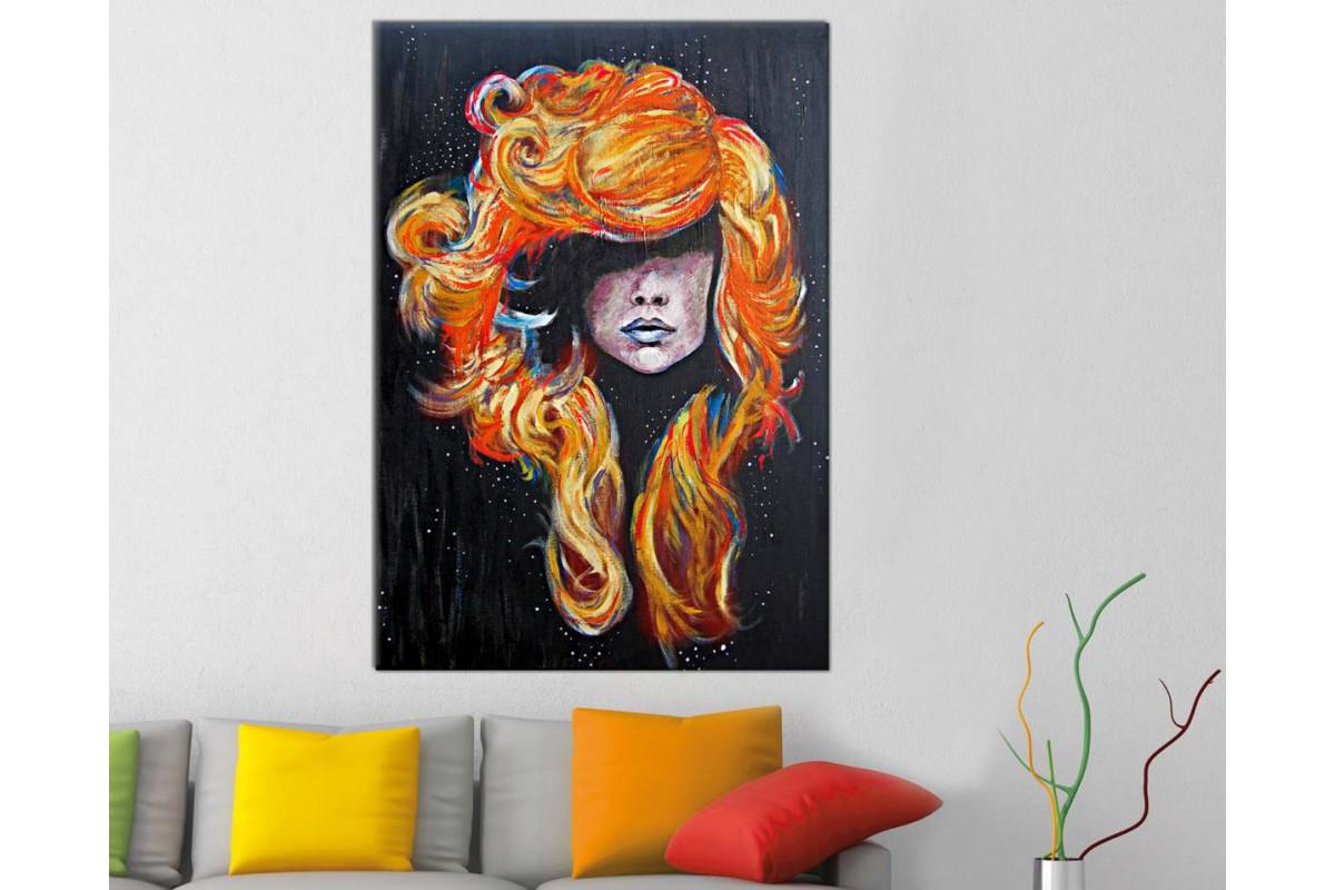 skrd6 - Dekoratif Renkli Saçlı Kadın Portresi Kanvas Duvar Tablosu
