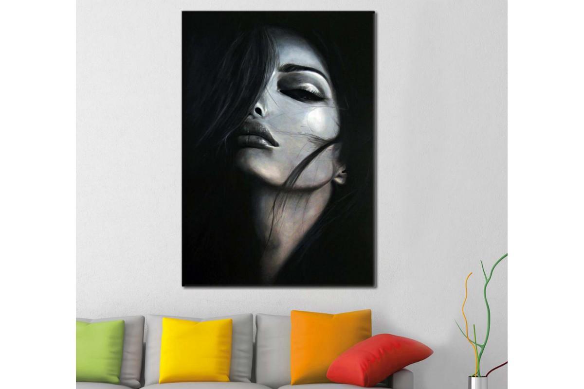 skrd8 - Dekoratif Makyajlı Kadın Kanvas Duvar Tablosu
