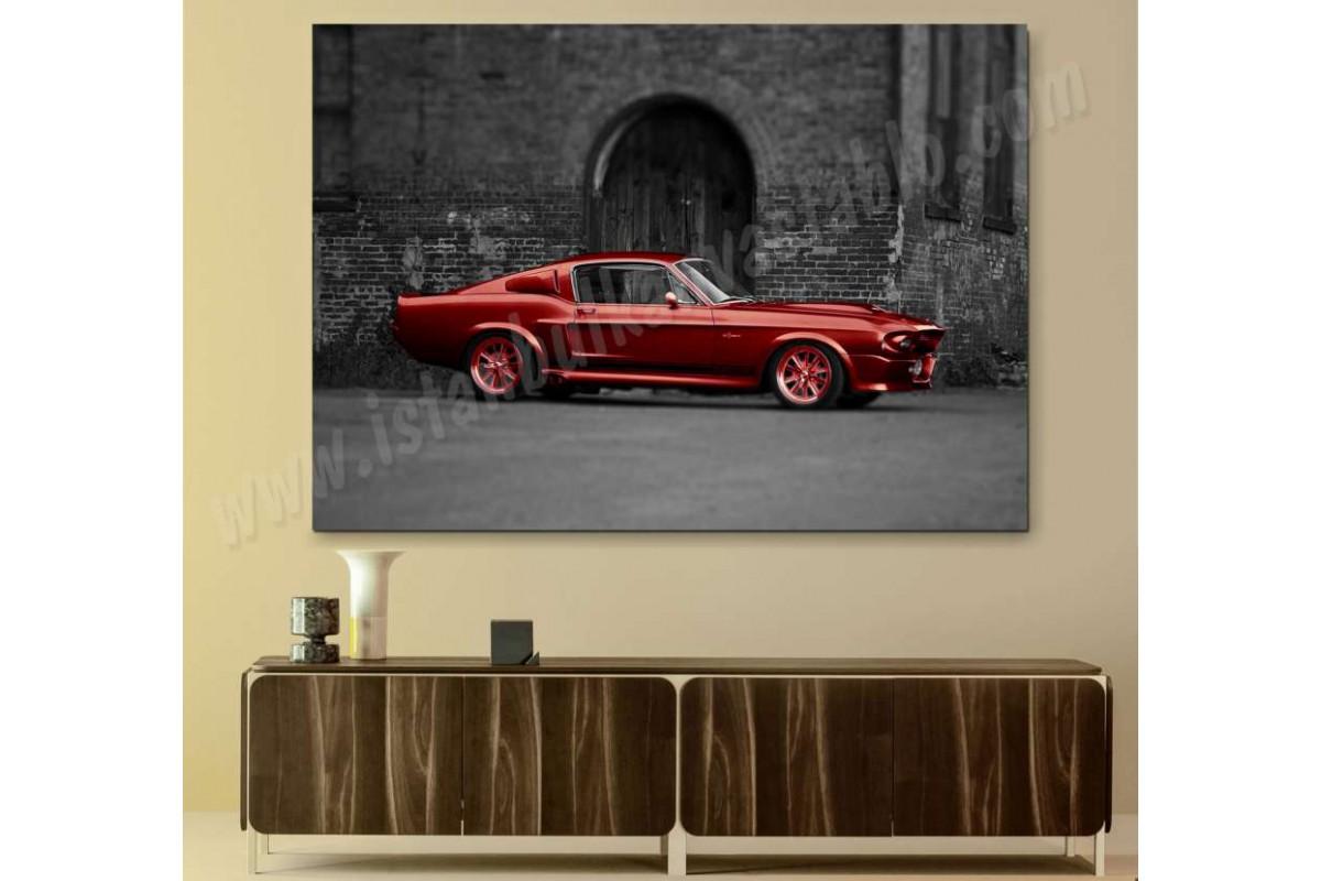 skrr04b - MUSTANG SHELLBY ELEANOR GT 500 VINTAGE ÖZEL TASARIM KANVAS TABLO