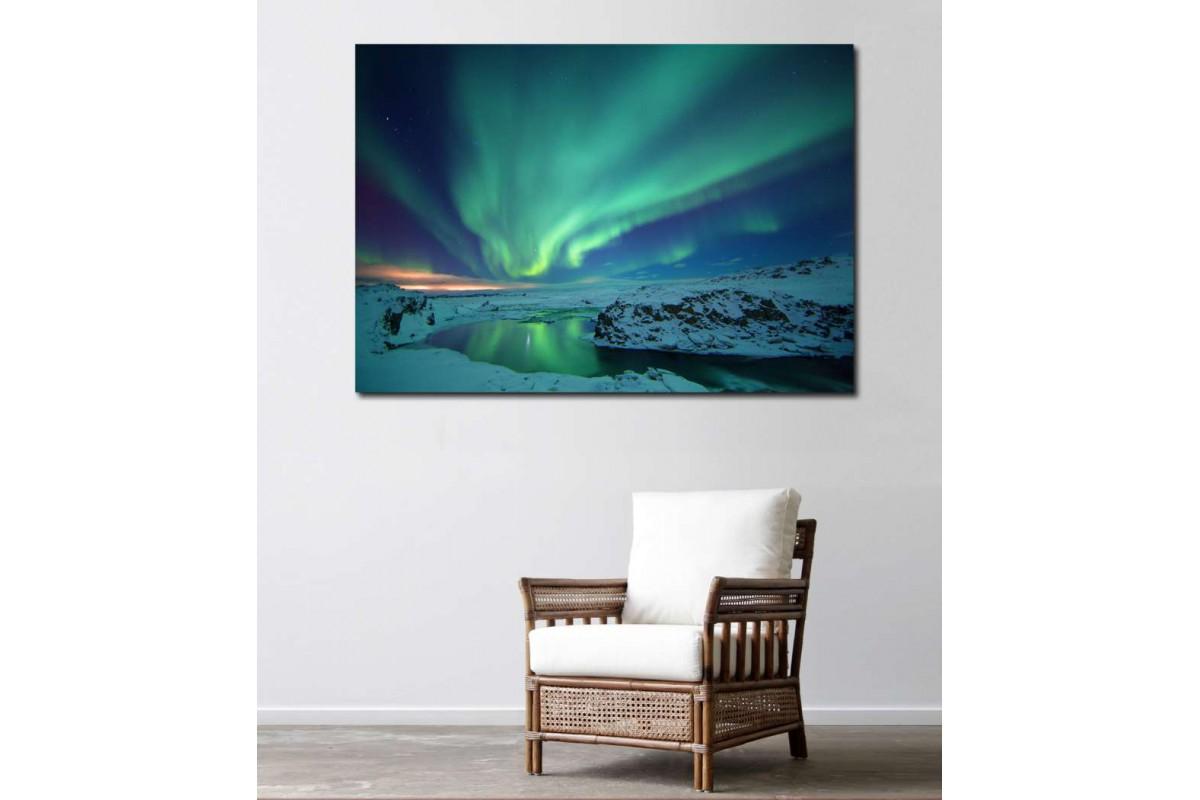 skzy13 - Kuzey Işıklar, Kutup Işıklar, Aurora Borealis Kanvas Tablo