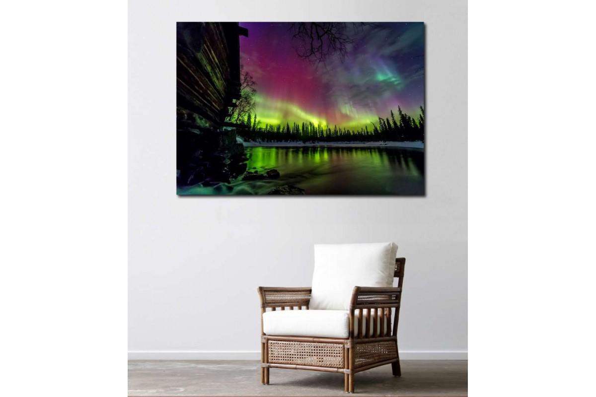 skzy17 - Kuzey Işıkları, Kutup Işıkları, Aurora Borealis Kanvas Tablo