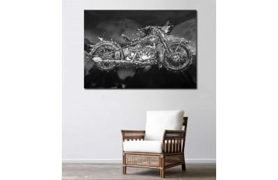 sm02 - Harley Davidson Chopper Motosiklet Soyut kanvas tablo
