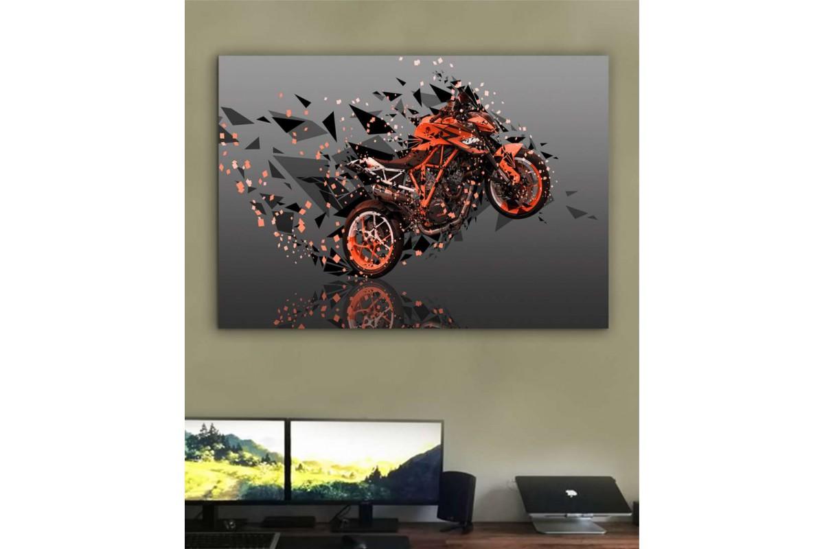 sm26 - Dekoratif Racer Motosiklet Soyut Kanvas Tablo