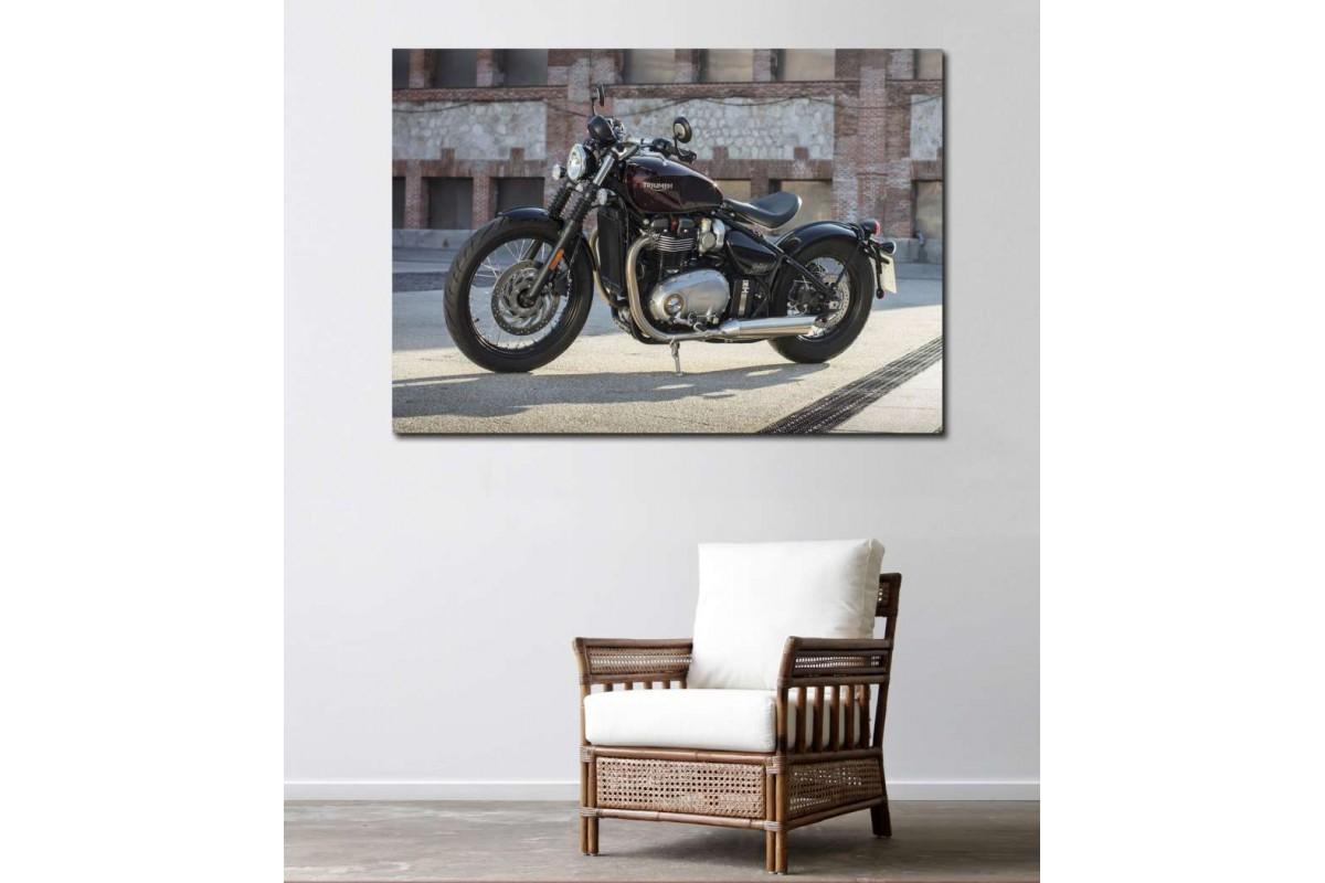 sm28 - Triumph Bobber Motosiklet Kanvas Tablo