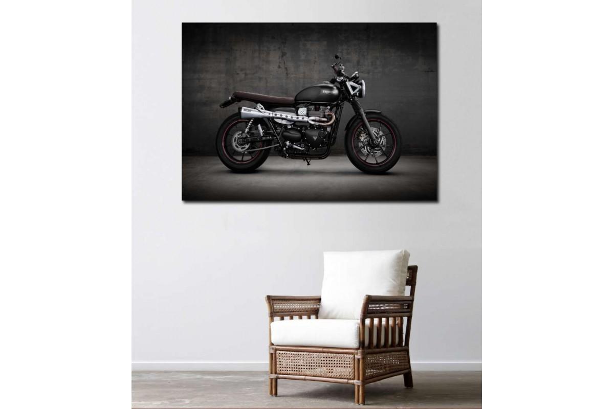 sm29 - Triumph Scrambler Motosiklet Kanvas Tablo