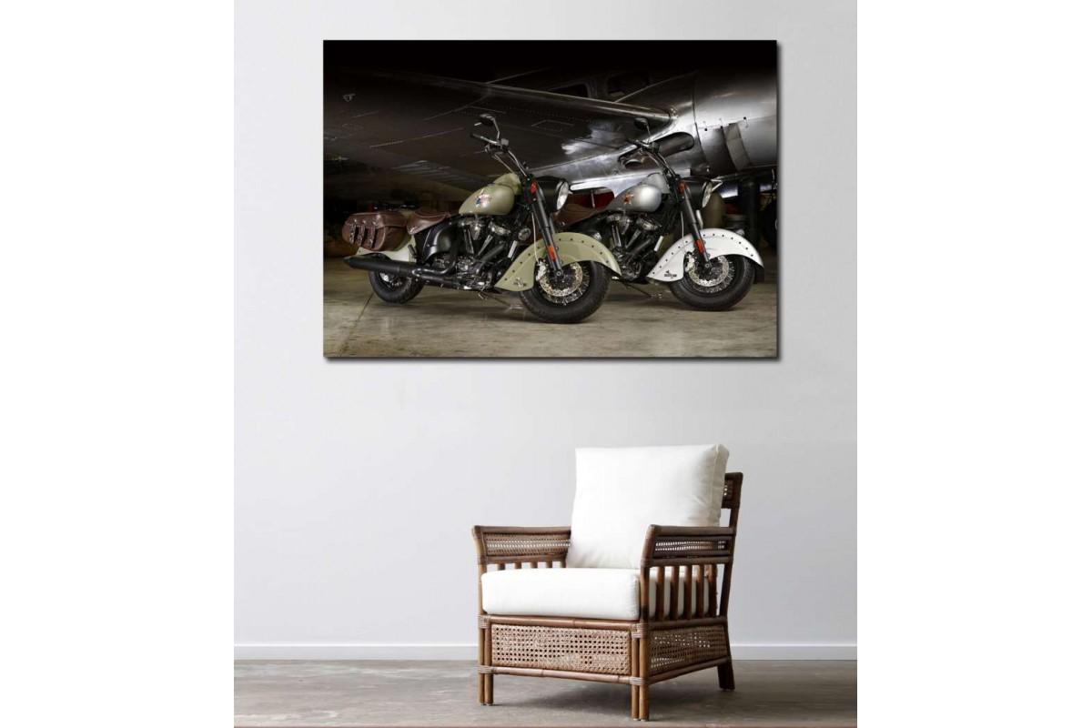 sm32 - Indian Klasik Motosikletler ve Uçak Kanvas Tablo