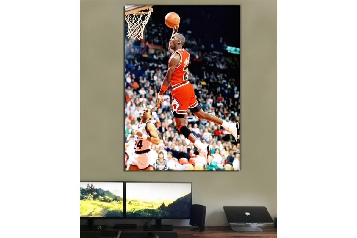 smj23 - Basketbol Efsanesi Michael Jordan Smaç Kanvas Tablo
