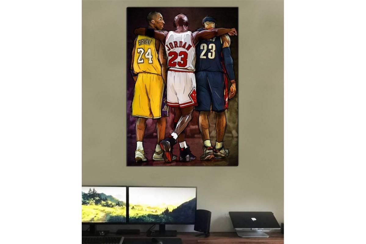 smj24 - Michael Jordan, Kobe Bryant ve Lebron James Basketbol Kanvas Tablo