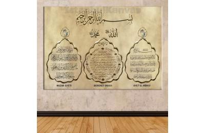 Snab1 - Nazar Ayeti - Bereket (Karınca) Duası - Ayetel Kürsi Özel Tasarım Kanvas Tablo