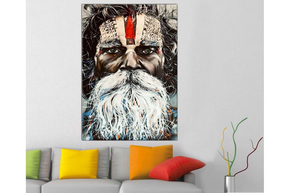 srab3 - Yağlı Boya Görünümlü Aborjin, Avustralya Yerlisi Kanvas tablo