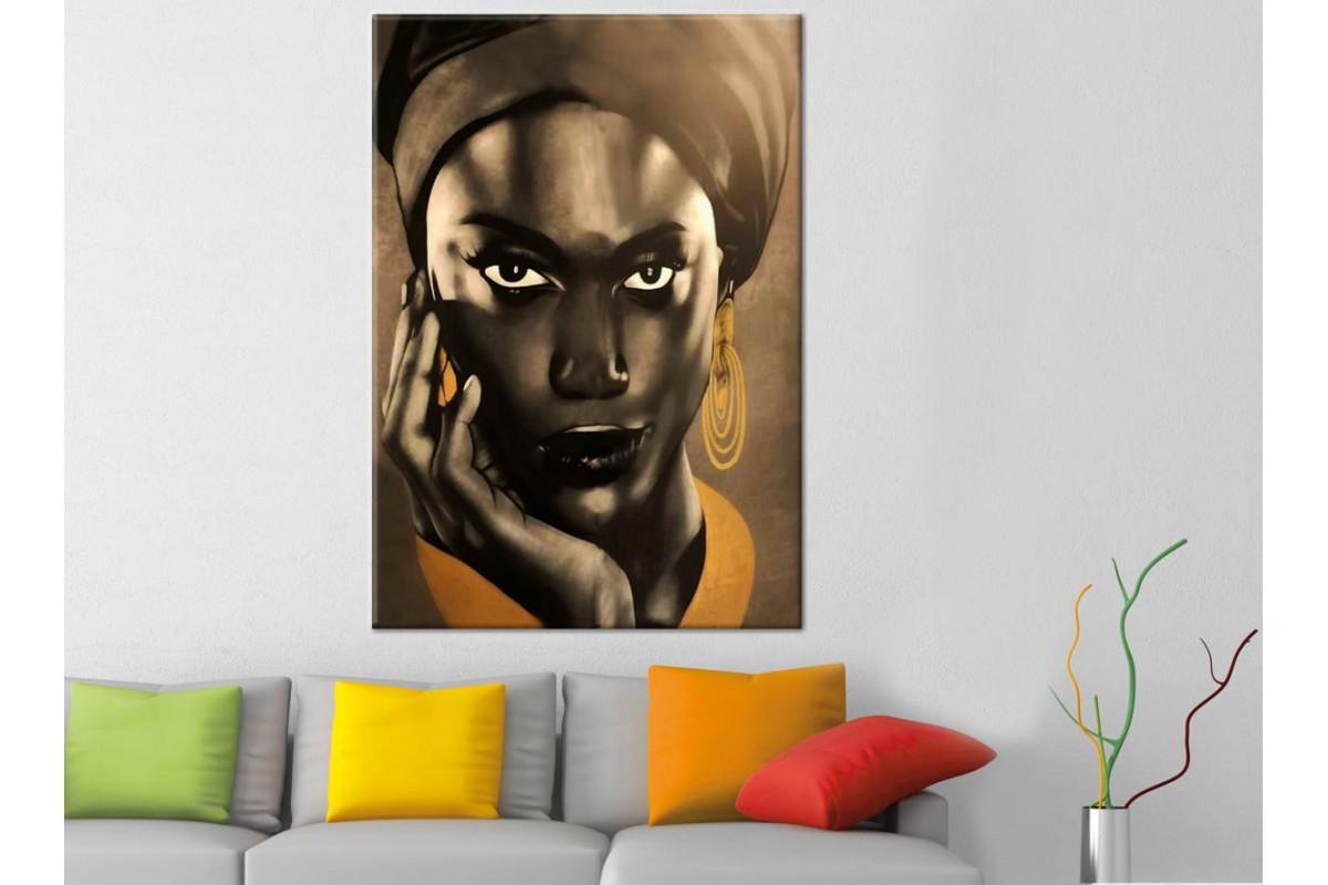sraf1 - Etnik Afrikalı Kadın Dekoratif Kanvas Tablo
