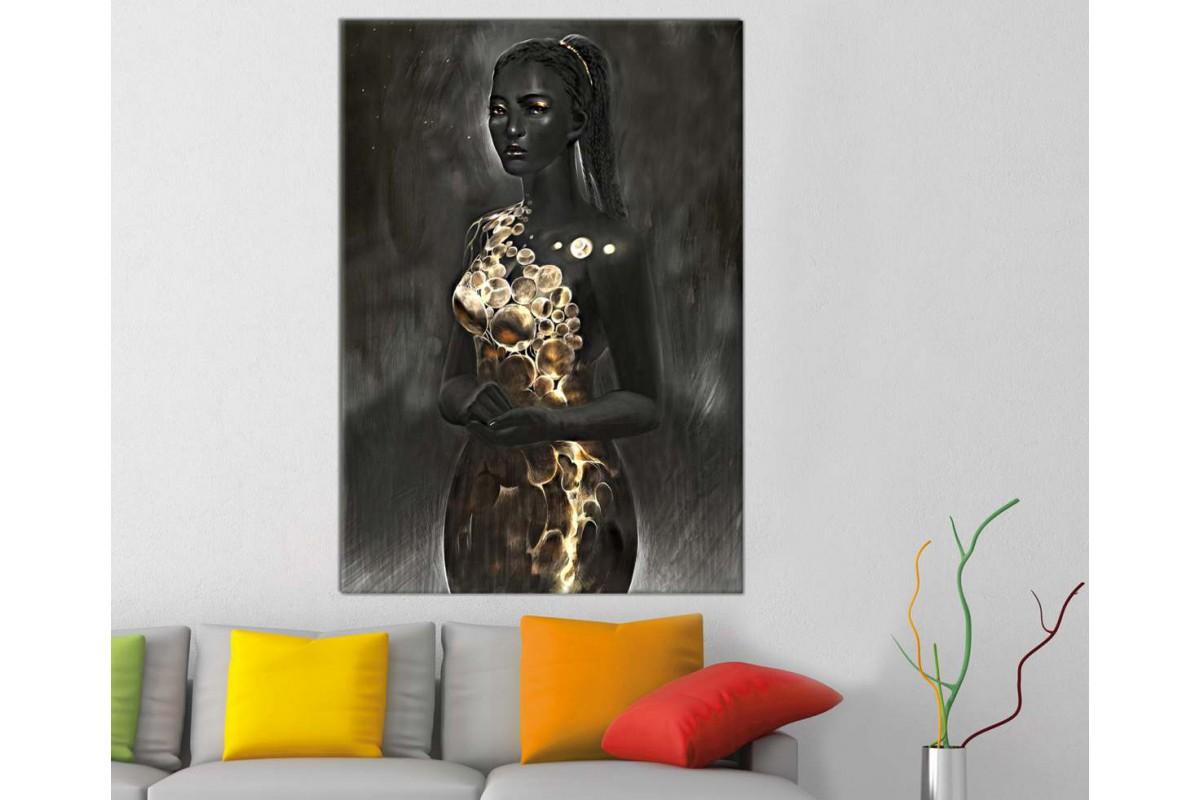 sraf14 - Siyah ve Altın Makyajlı Kadın ve Altın Renkli Elbise Kanvas Tablo