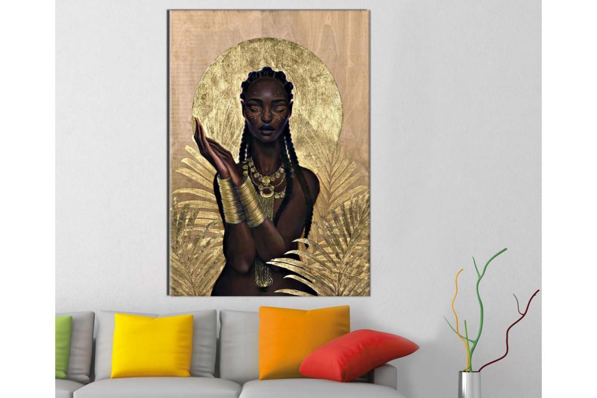sraf15 - Afrikalı Siyahi Kadın ve Altın Bilezik ve Kolye Kanvas Tablo
