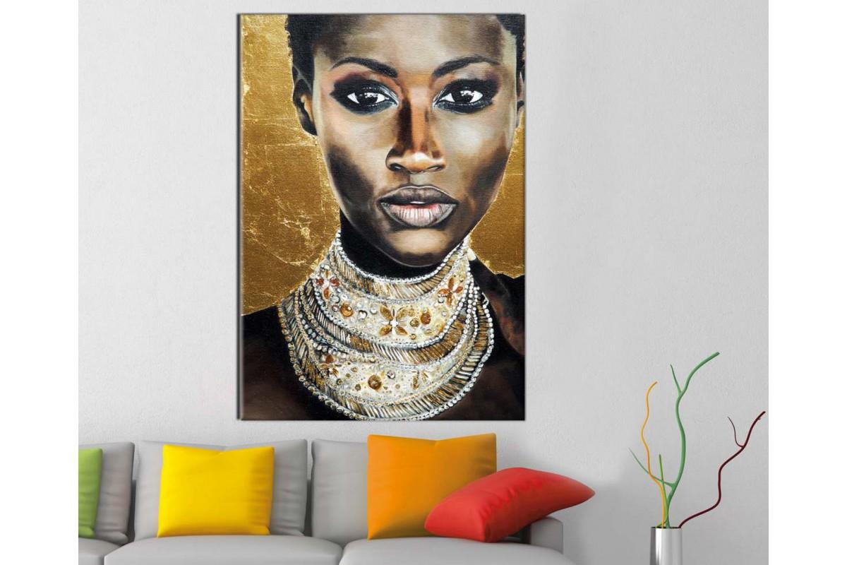 sraf16 - Afrikalı Siyahi Kadın ve Altın Takılar Kanvas Tablo