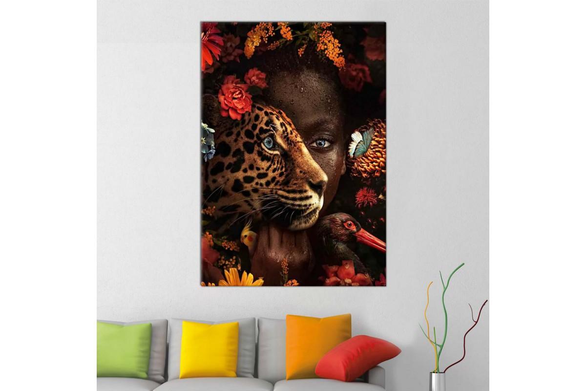 sraf17 - Afrikalı Siyahi Kadın, Leopar, Kelebek ve Çiçekler Dekoratif Kanvas Tablo