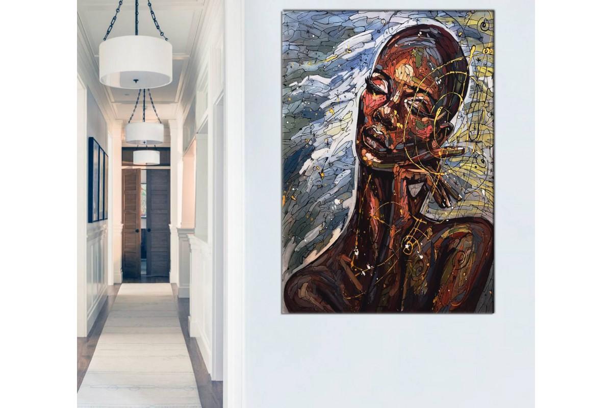 Sraf18 - Afrikalı Siyahi Kadın Yağlı Boya Görünümlü Dekoratif Kanvas Tablo