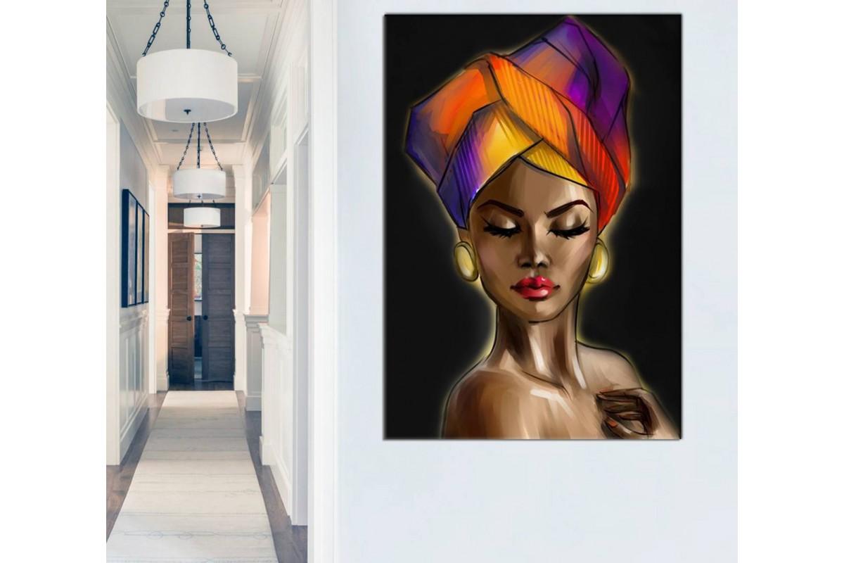Sraf19 - Etnik Eşarplı ve Makyajlı Afrikalı Siyahi Kadın Ve Altın Takılar Kanvas Tablo