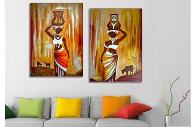sraf34 - Sepet Taşıyan Afrikalı Kadınlar Dekoratif Kanvas Tablolar 70x100cm (2 adet 50x70cm)